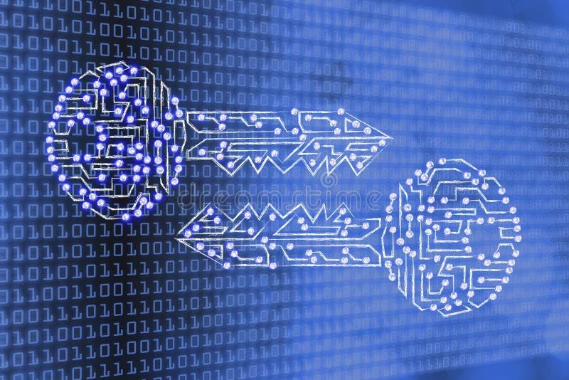 Ταιριάζοντας με κλειδιά φιαγμένα από κυκλώματα & οδηγημένα φω'τα, κρυπτογράφηση & crypto στοκ φωτογραφία με δικαίωμα ελεύθερης χρήσης