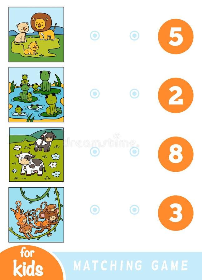 Ταιριάζοντας με παιχνίδι εκπαίδευσης για τα παιδιά Ζώα κινούμενων σχεδίων σε ένα χρωματισμένο υπόβαθρο - λιοντάρια, βάτραχοι, αγε ελεύθερη απεικόνιση δικαιώματος
