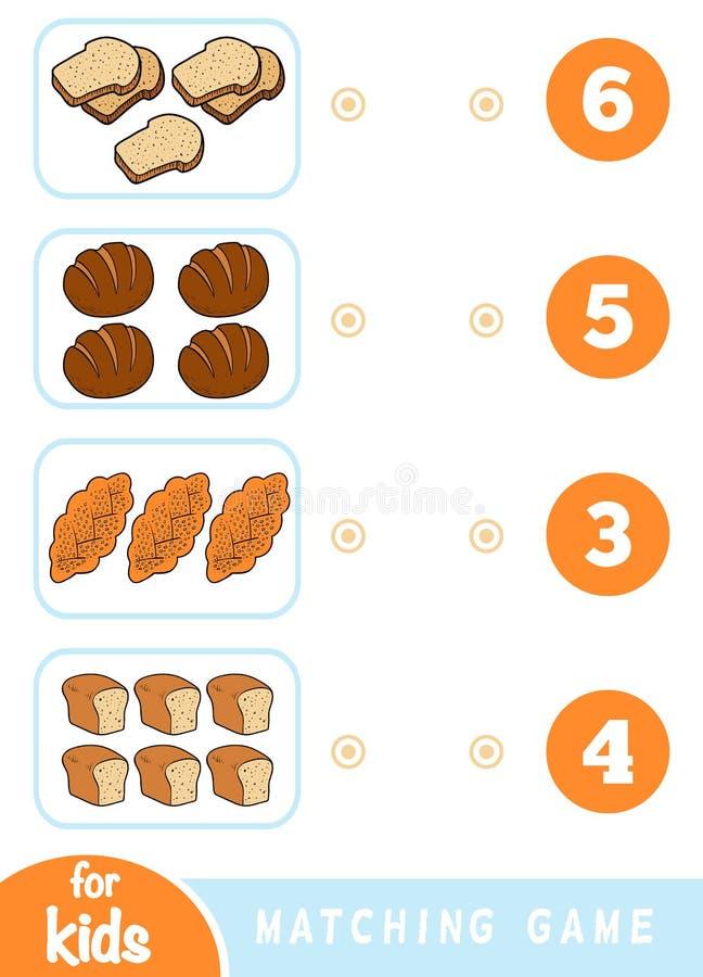 Ταιριάζοντας με παιχνίδι εκπαίδευσης Μετρήστε πόσα στοιχεία και επιλέξτε το σωστό αριθμό Σύνολο ψωμιού διανυσματική απεικόνιση