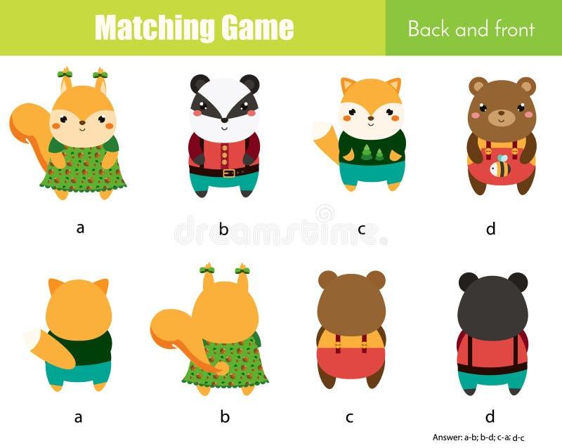 Ταιριάζοντας με παιχνίδι Εκπαιδευτική δραστηριότητα παιδιών με τα χαριτωμένα ζώα Να μάθει πίσω και μέτωπο διανυσματική απεικόνιση