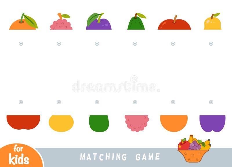 Ταιριάζοντας με παιχνίδι, εκπαιδευτικό παιχνίδι για τα παιδιά Ταιριάξτε με τα μισά Σύνολο φρούτων ελεύθερη απεικόνιση δικαιώματος