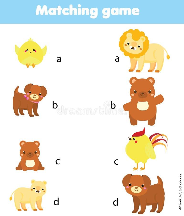 Ταιριάζοντας με παιχνίδι Ζωικός γονέας αντιστοιχιών με το μωρό Εκπαιδευτική δραστηριότητα παιδιών διανυσματική απεικόνιση