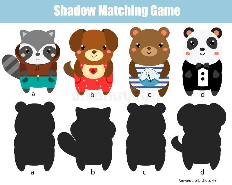 Ταιριάζοντας με παιχνίδι σκιών Δραστηριότητα παιδιών με τα χαριτωμένα ζώα απεικόνιση αποθεμάτων