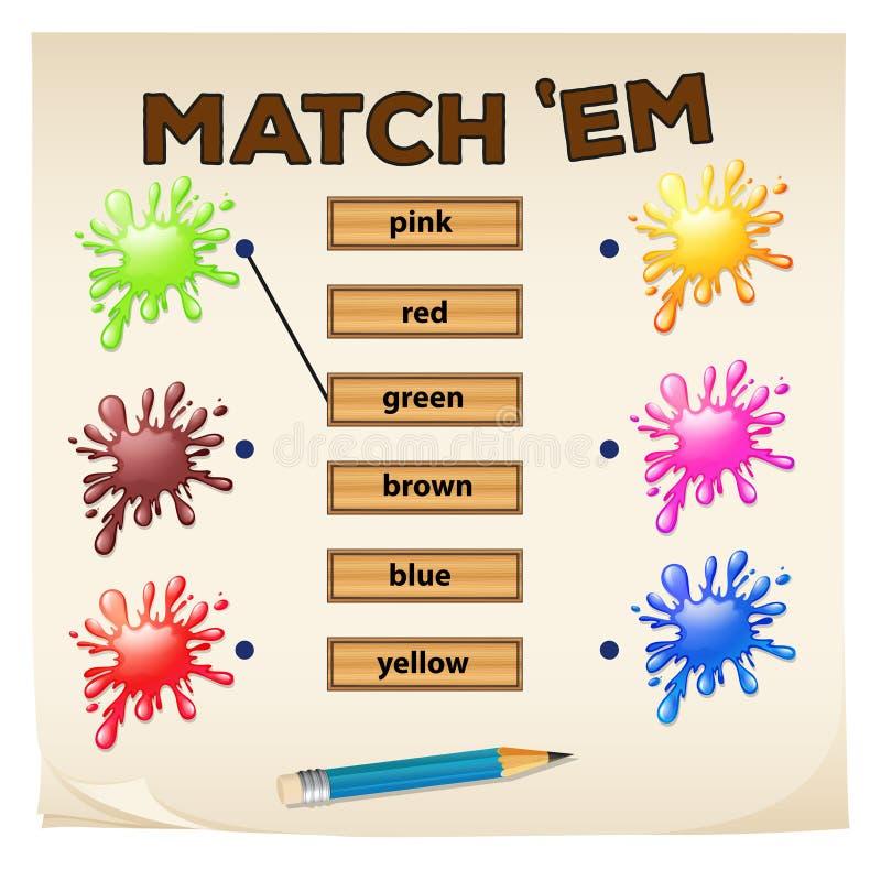 Ταιριάζοντας με παιχνίδι με τα χρώματα διανυσματική απεικόνιση