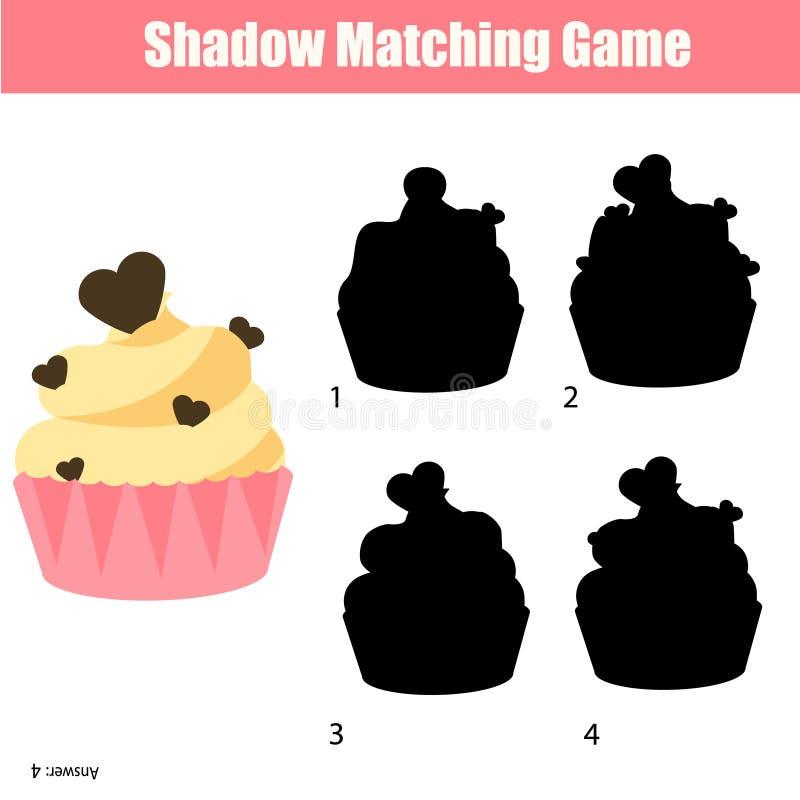 Ταιριάζοντας με παιχνίδι σκιών Βρείτε τη σωστή σκιαγραφία για το cupcake, δραστηριότητα παιδιών, φύλλο εργασίας απεικόνιση αποθεμάτων