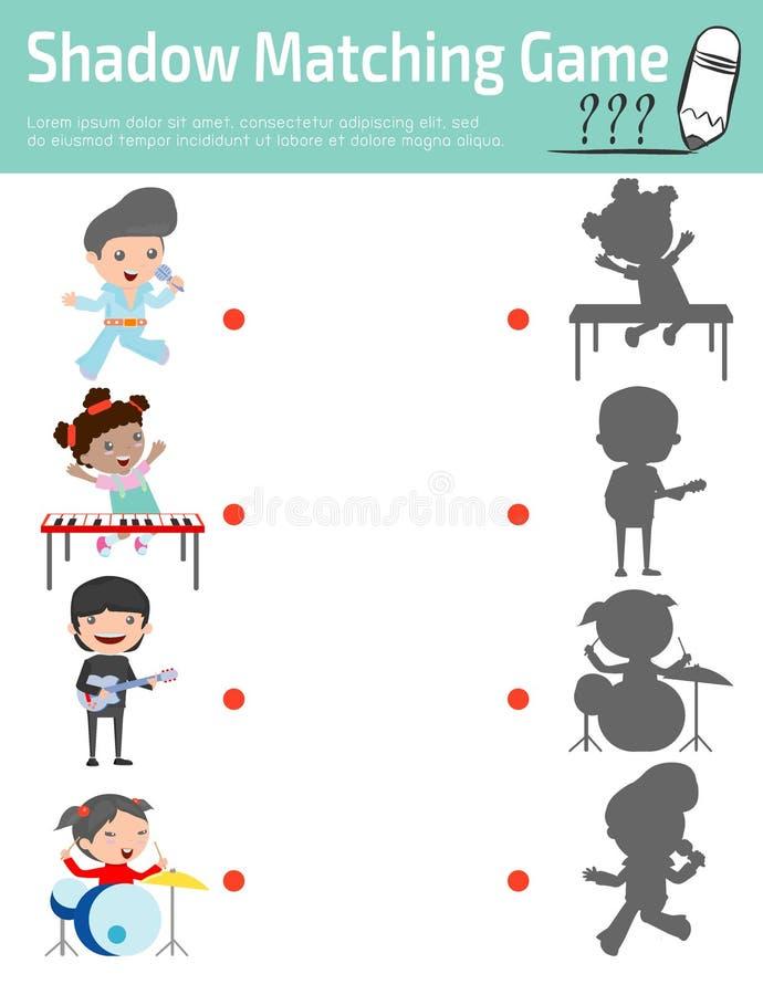 Ταιριάζοντας με παιχνίδι σκιών για τα παιδιά, διανυσματική απεικόνιση εκπαίδευσης απεικόνιση αποθεμάτων