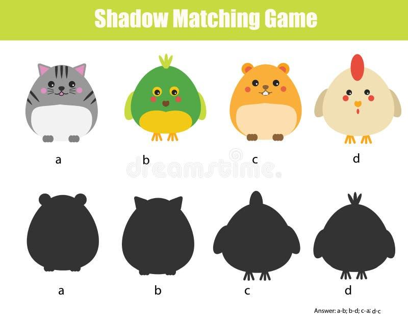 Ταιριάζοντας με παιχνίδι σκιών Θέμα ζώων διανυσματική απεικόνιση