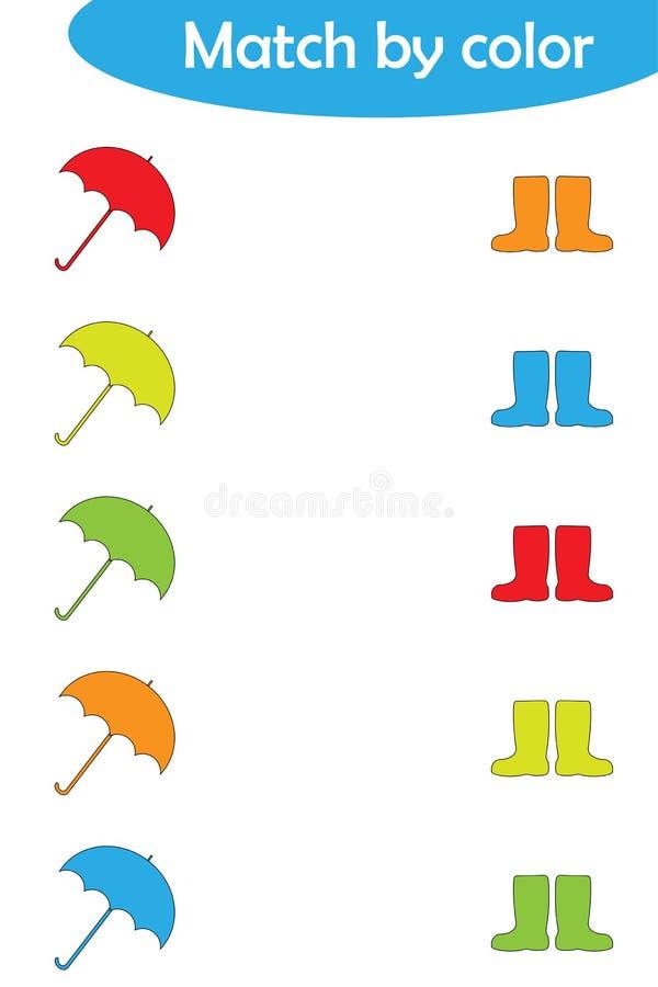 Ταιριάζοντας με το παιχνίδι για τα παιδιά, συνδέστε τις ομπρέλες και τις μπότες από το χρώμα, προσχολική δραστηριότητα φύλλων εργ απεικόνιση αποθεμάτων