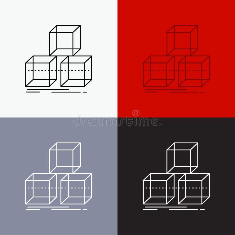 Τακτοποιήστε, σχεδιάστε, συσσωρεύστε, τρισδιάστατος, εικονίδιο κιβωτίων πέρα από το διάφορο υπόβαθρο Σχέδιο ύφους γραμμών, που σχ απεικόνιση αποθεμάτων