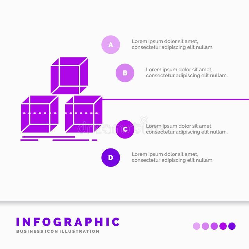 Τακτοποιήστε, σχεδιάστε, συσσωρεύστε, τρισδιάστατο, πρότυπο Infographics κιβωτίων για τον ιστοχώρο και παρουσίαση GLyph πορφυρό δ διανυσματική απεικόνιση