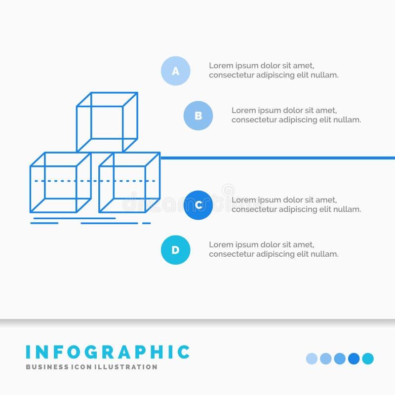 Τακτοποιήστε, σχεδιάστε, συσσωρεύστε, τρισδιάστατο, πρότυπο Infographics κιβωτίων για τον ιστοχώρο και παρουσίαση Γραμμών μπλε δι διανυσματική απεικόνιση