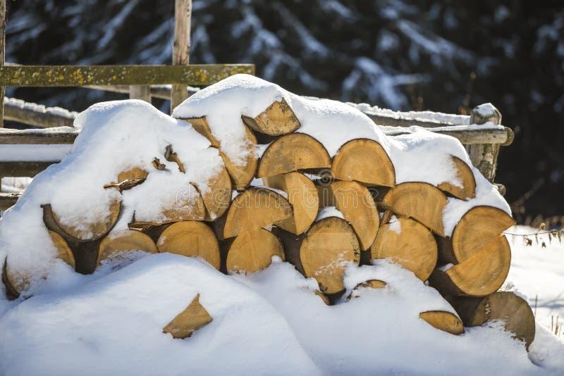 Τακτοποιημένα συσσωρευμένος σωρός του τεμαχισμένου ξηρού ξύλου κορμών που καλύπτεται με το χιόνι υπαίθρια τη φωτεινή κρύα χειμερι στοκ εικόνες