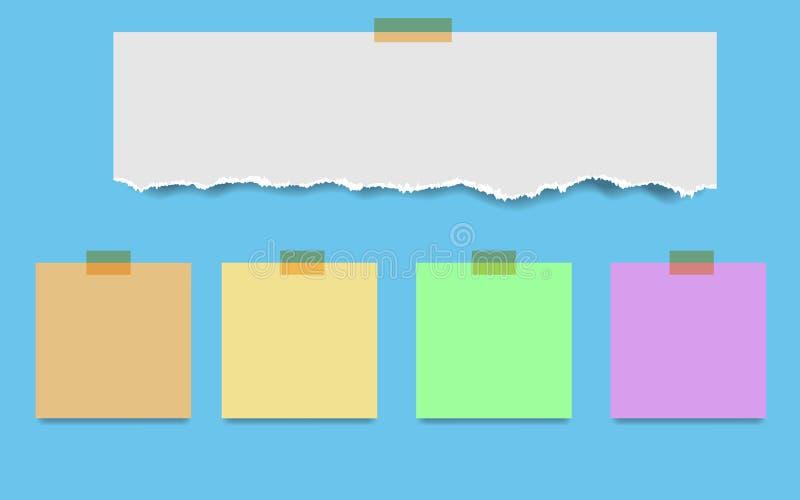 Τακτοποιημένες κενό σελίδες και ταινία σημειωματάριων Έγγραφο σημειώσεων που κολλιέται με το beig διανυσματική απεικόνιση
