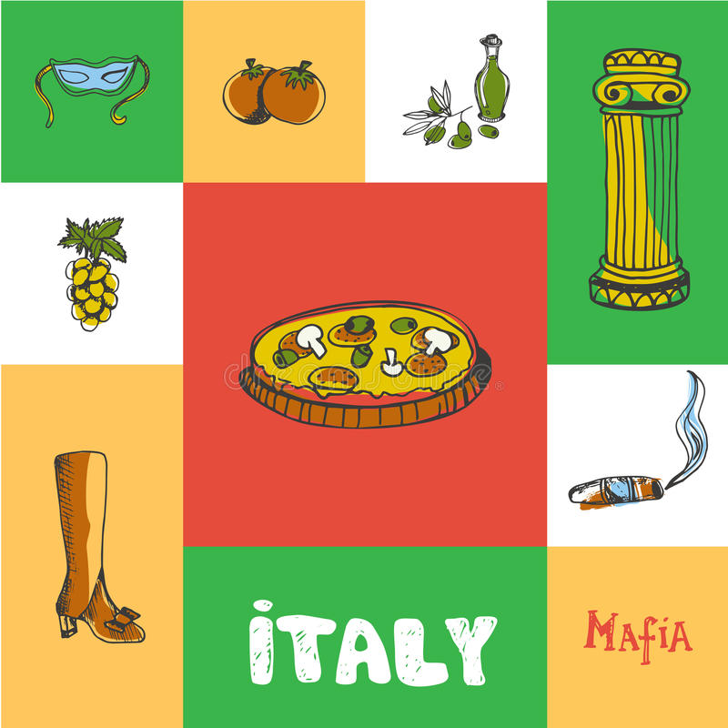 Τακτοποιημένη η Ιταλία διανυσματική έννοια Doodle διανυσματική απεικόνιση