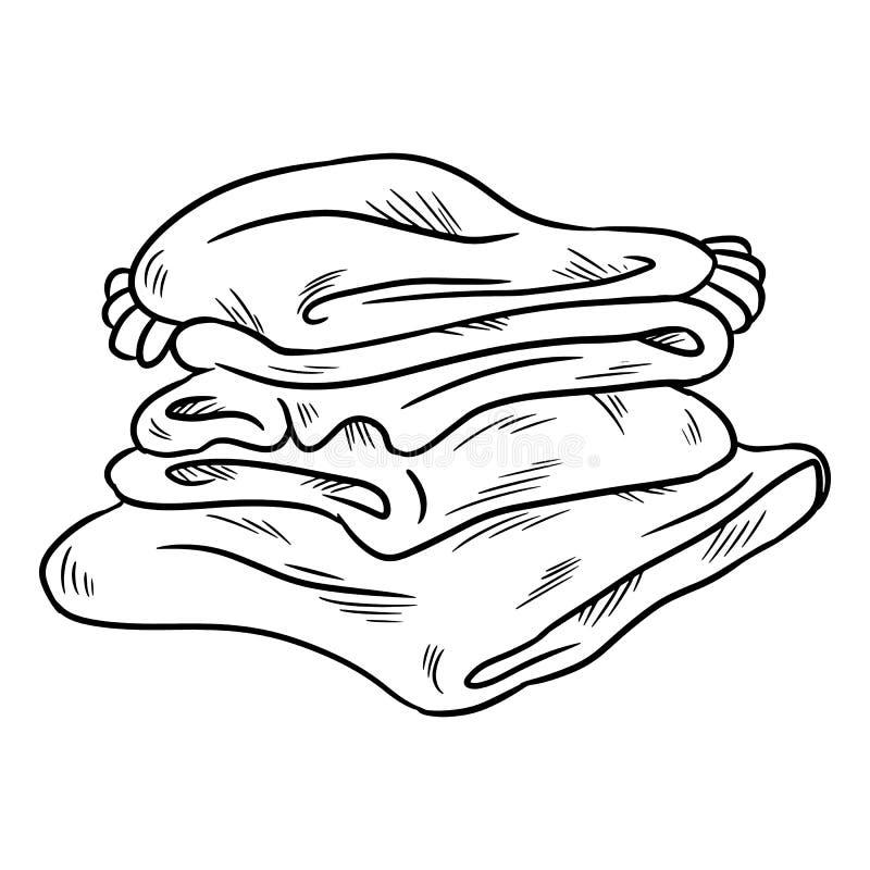 Τακτοποιημένος άνετος σωρός των καρό doodle Διπλωμένα ενδύματα απεικόνιση αποθεμάτων