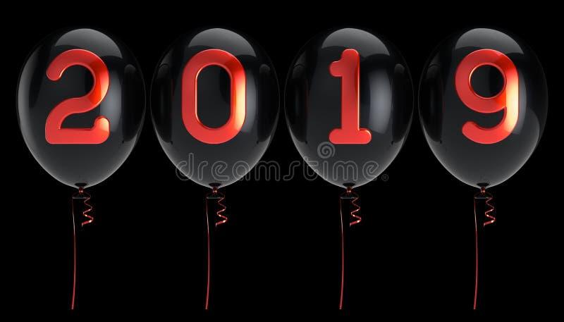 Τακτοποιημένος κόκκινος σειρά μαύρος στιλπνός Παραμονής Πρωτοχρονιάς μπαλονιών 2019 ελεύθερη απεικόνιση δικαιώματος