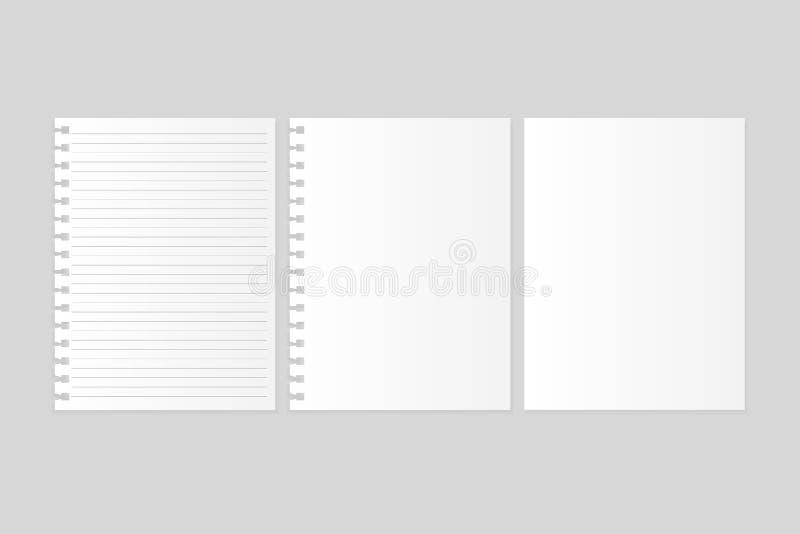 Τακτοποιημένο σημειωματάριο έγγραφο με το κενό έγγραφο σημειώσεων για το γκρίζο υπόβαθρο απεικόνιση αποθεμάτων