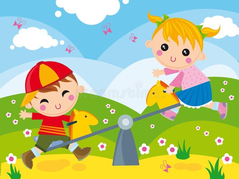ταλάντευση παιδικών χαρών διανυσματική απεικόνιση