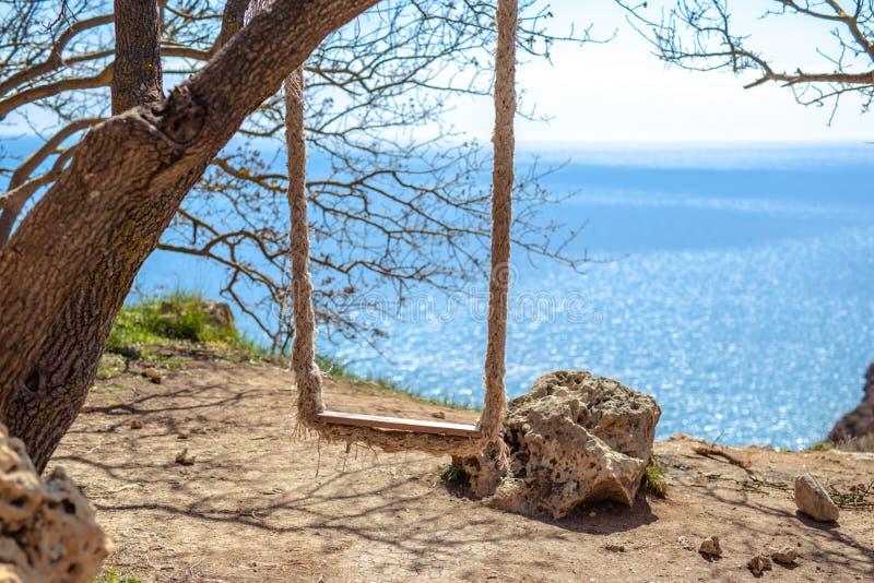 Ταλάντευση που αγνοεί τη θάλασσα πέρα από τον απότομο βράχο στοκ φωτογραφία με δικαίωμα ελεύθερης χρήσης