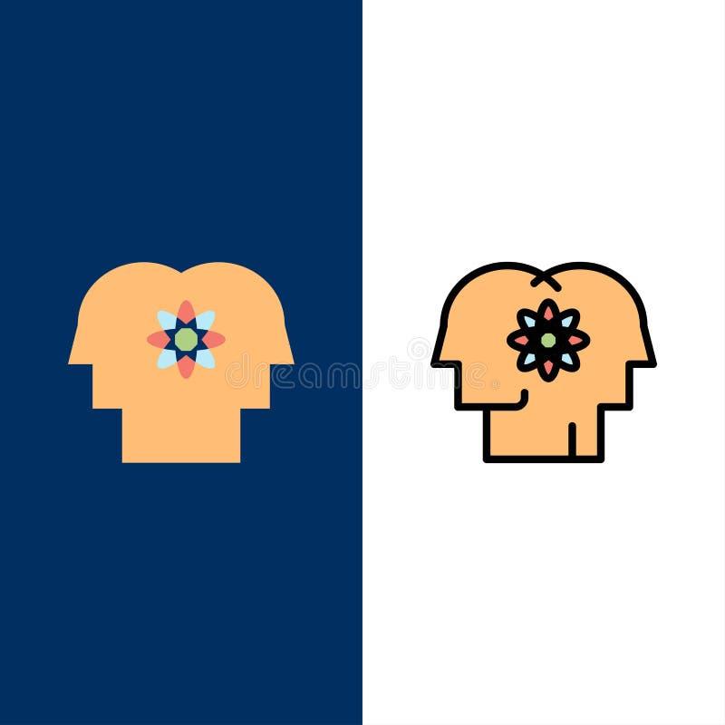 Ταλέντο, άνθρωπος, βελτίωση, διαχείριση, εικονίδια ανθρώπων Επίπεδος και γραμμή γέμισε το καθορισμένο διανυσματικό μπλε υπόβαθρο  διανυσματική απεικόνιση