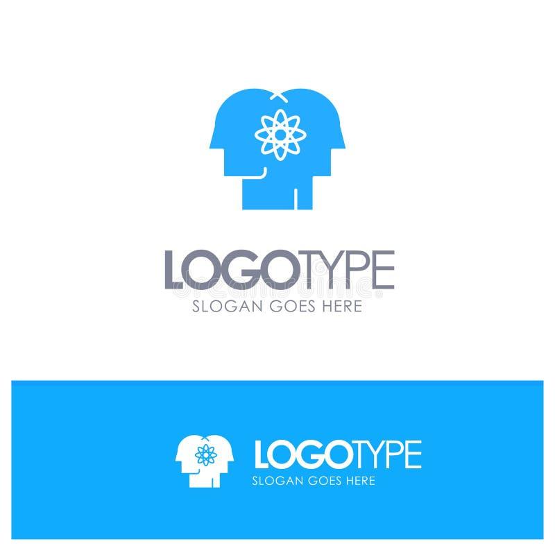 Ταλέντο, άνθρωπος, βελτίωση, διαχείριση, μπλε στερεό λογότυπο ανθρώπων με τη θέση για το tagline απεικόνιση αποθεμάτων