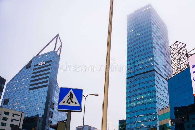 Ταλίν Εσθονία: Ουρανοξύστες στη λεωφόρο Ravala στο κέντρο πόλεων στοκ φωτογραφία με δικαίωμα ελεύθερης χρήσης