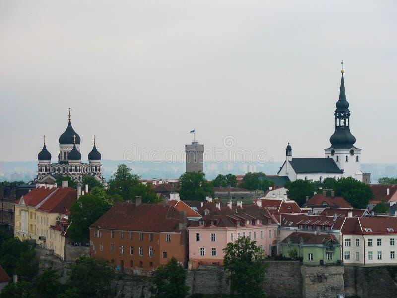 Ταλίν Εσθονία πανοραμική όψη πόλεων Η εκκλησία και ο πύργος, κόκκινες στέγες είναι στη φωτογραφία στοκ εικόνες