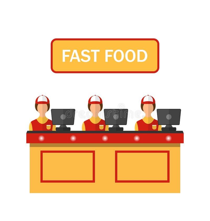 Ταμίες με τον κατάλογο μετρητών στο γευματίζοντα με γρήγορα διανυσματική απεικόνιση