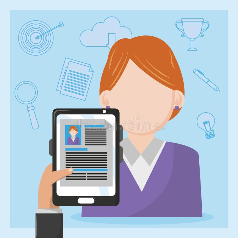 Ταμπλέτα εκμετάλλευσης χεριών επιχειρηματιών με το βιογραφικό σημείωμα διανυσματική απεικόνιση