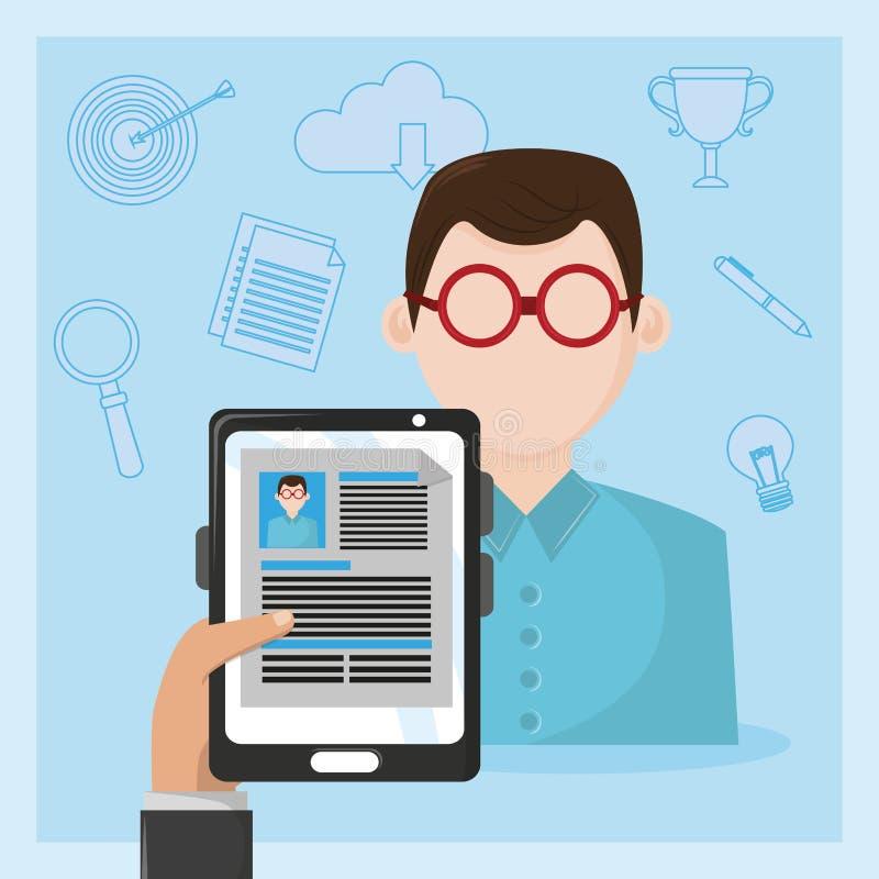 Ταμπλέτα εκμετάλλευσης χεριών επιχειρηματιών με το βιογραφικό σημείωμα ελεύθερη απεικόνιση δικαιώματος
