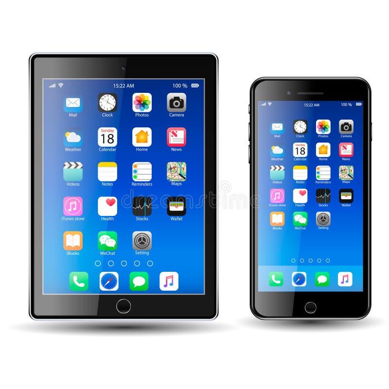 Ταμπλέτα και τηλέφωνο της Mobil με τα εικονίδια, μπλε οθόνη στοκ φωτογραφία