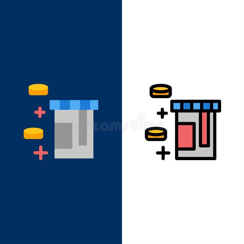 Ταμπλέτα, μπουκάλι, εικονίδια υγειονομικής περίθαλψης Επίπεδος και γραμμή γέμισε το καθορισμένο διανυσματικό μπλε υπόβαθρο εικονι ελεύθερη απεικόνιση δικαιώματος