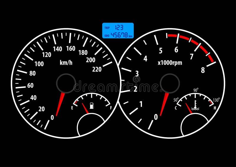 Ταμπλό αυτοκινήτων με το ταχύμετρο, το ταχύμετρο, τα καύσιμα και το μετρητή θερμοκρασίας r διανυσματική απεικόνιση