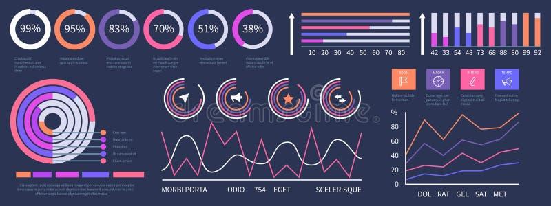 Ταμπλό Infographic Διανυσματικά στοιχεία παρουσίασης διεπαφών καθορισμένα ελεύθερη απεικόνιση δικαιώματος