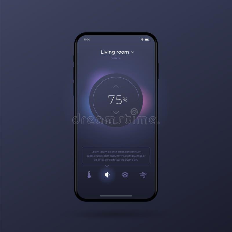 Ταμπλό UI και εξάρτηση UX Κεντρικό σχέδιο ελέγχου Έλεγχος θερμοκρασίας στο δωμάτιο απεικόνιση αποθεμάτων