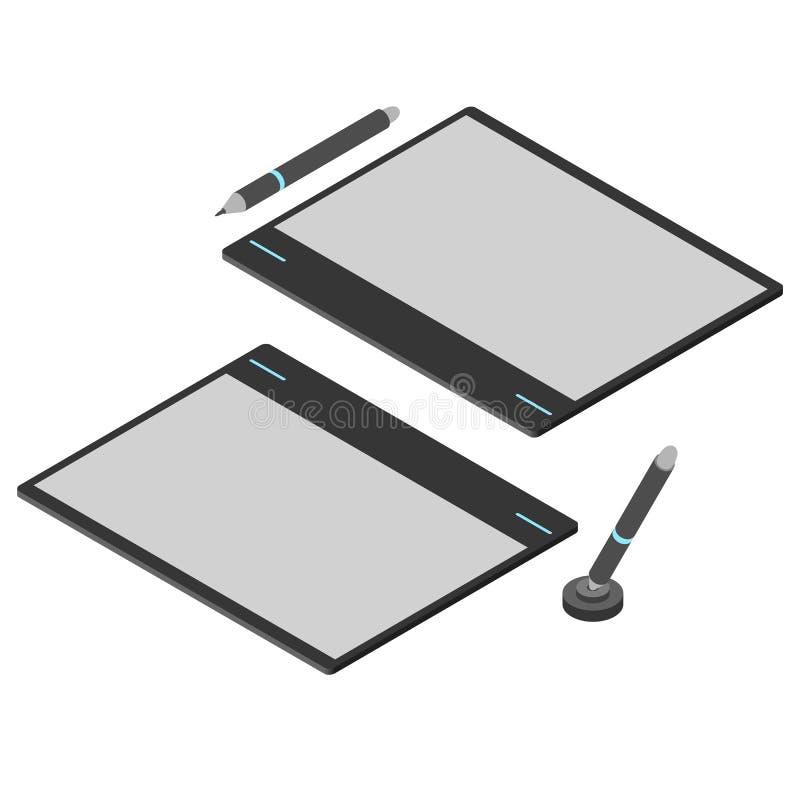 Ταμπλέτα γραφικής παράστασης Επίπεδος Isometric Εργαλείο σχεδίων για έναν υπολογιστή διανυσματική απεικόνιση