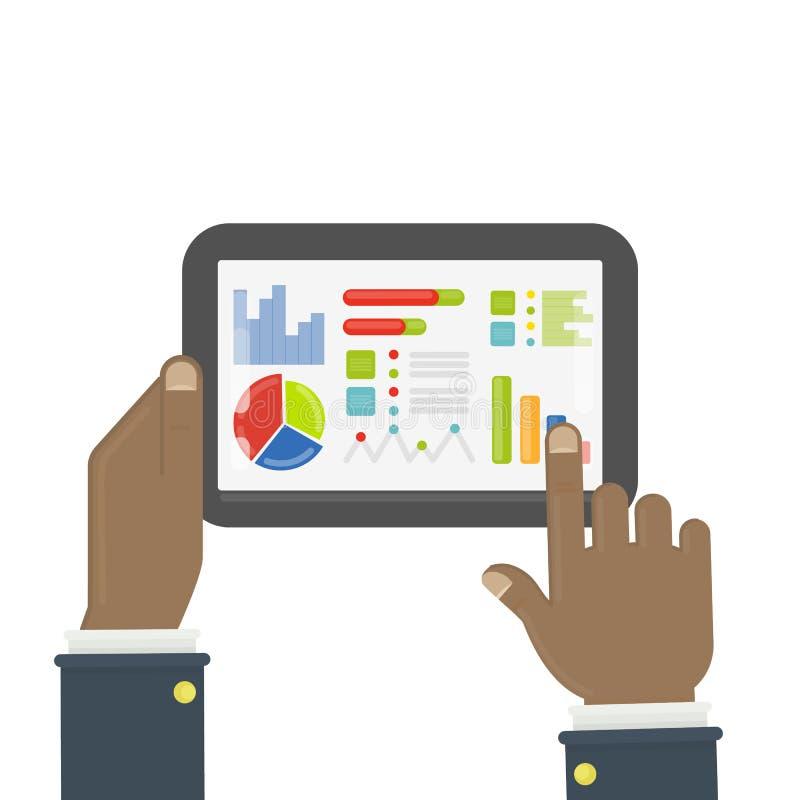Ταμπλέτα με τις στατιστικές διαγραμμάτων ελεύθερη απεικόνιση δικαιώματος