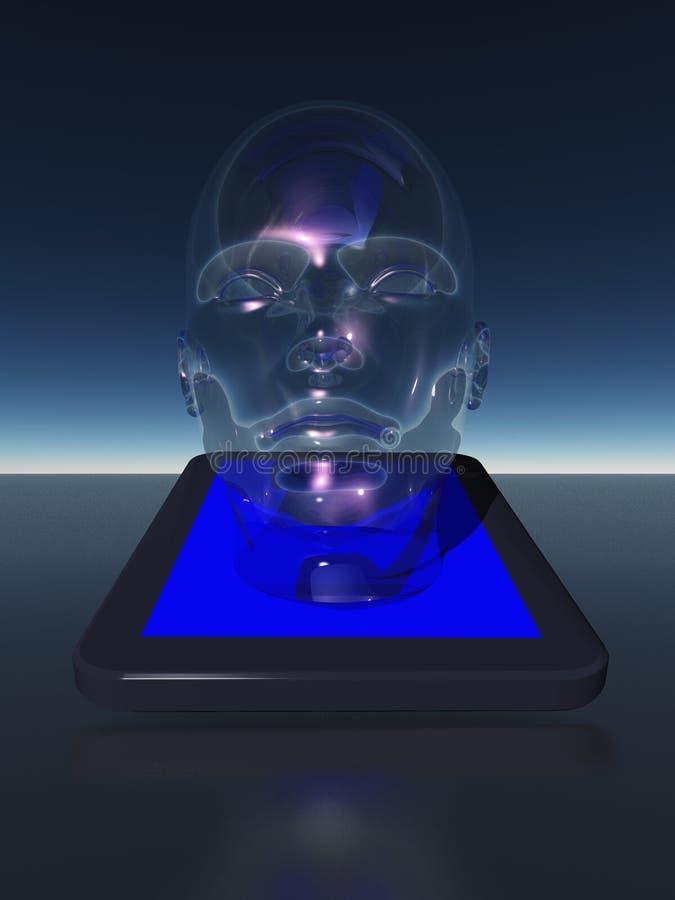 Ταμπλέτα με το ανθρώπινο κεφάλι διανυσματική απεικόνιση