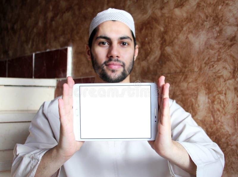 Ταμπλέτα με το διάστημα αντιγράφων στην άσπρη οθόνη στοκ φωτογραφία με δικαίωμα ελεύθερης χρήσης