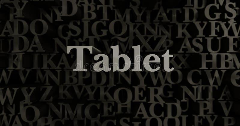 Ταμπλέτα - τρισδιάστατη μεταλλική στοιχειοθετημένη απεικόνιση τίτλων απεικόνιση αποθεμάτων