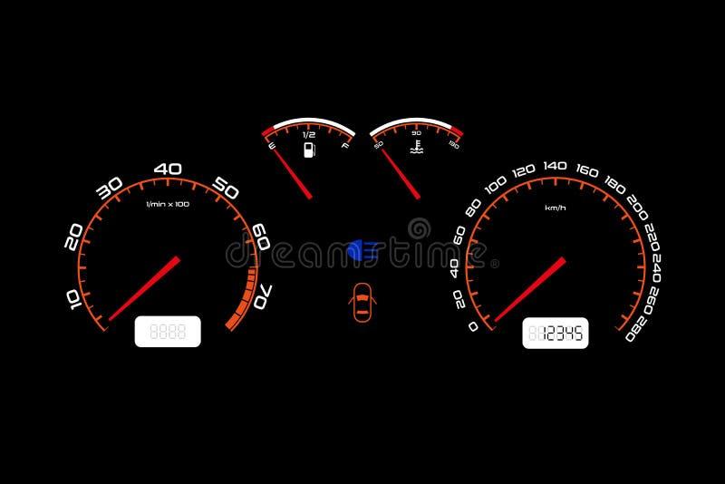 Ταμπλό αυτοκινήτων, αυτοκινητική φωτισμένη έλεγχος επιτροπή ελεύθερη απεικόνιση δικαιώματος