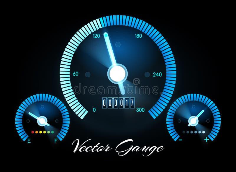 Ταμπλό αυτοκινήτων με το διάνυσμα μετρητών μετρητών ταχύτητας, δύναμης και καυσίμων ελεύθερη απεικόνιση δικαιώματος