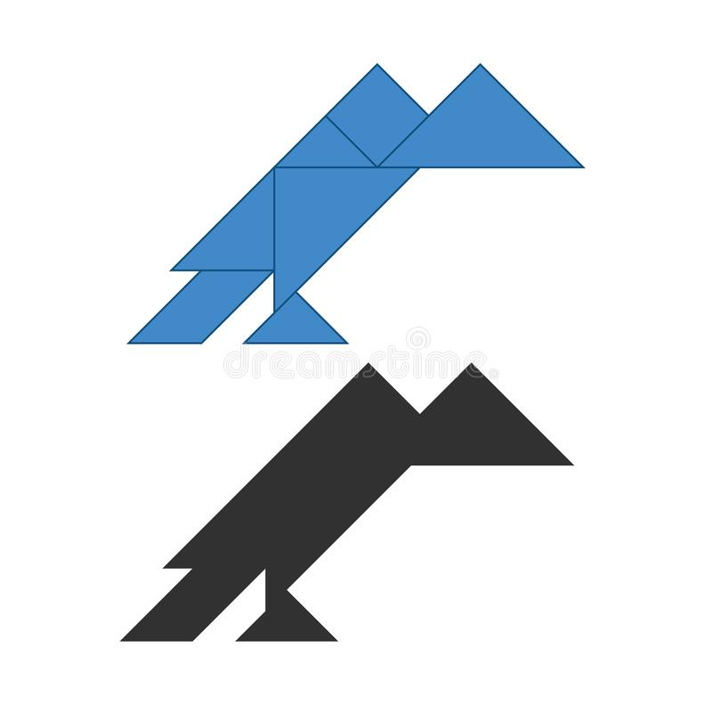 τανγκράμ γύπων Γρίφος ανατομής παραδοσιακού κινέζικου, επτά κομμάτια επικεράμωσης - γεωμετρικές μορφές: τρίγωνα, τετραγωνικός ρόμ ελεύθερη απεικόνιση δικαιώματος