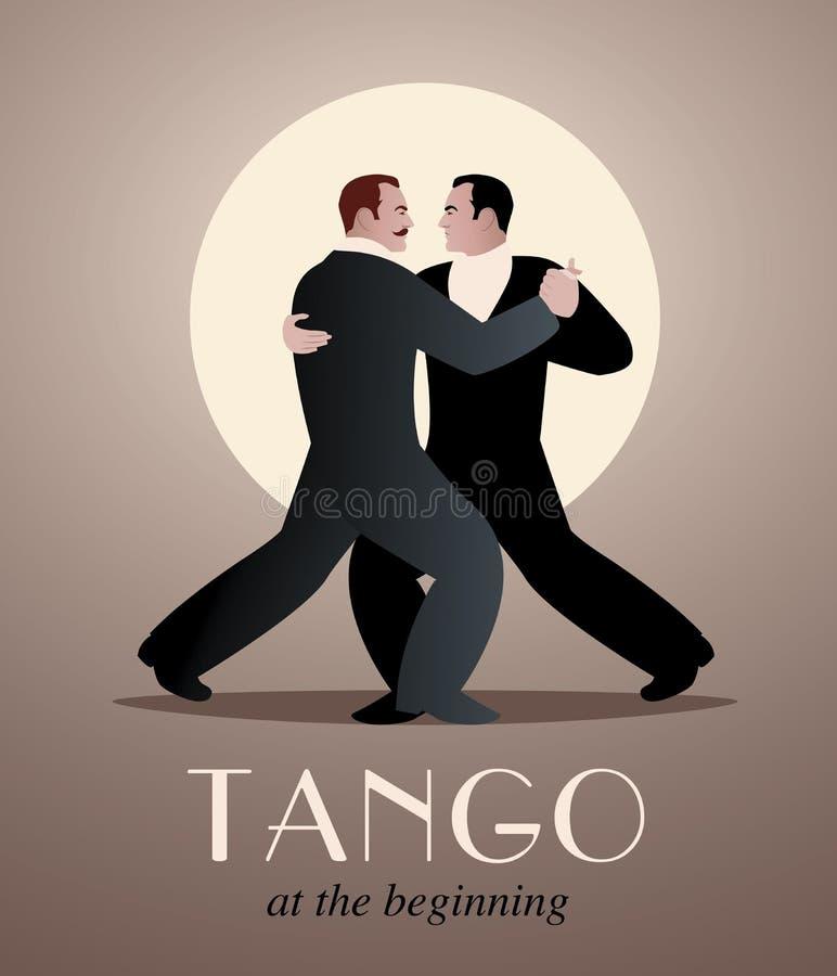 Τανγκό χορού δύο ατόμων διανυσματική απεικόνιση