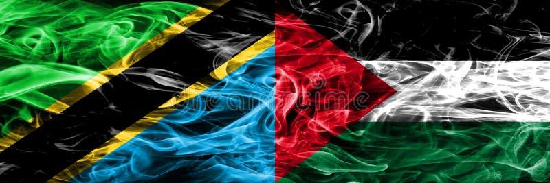 Τανζανία εναντίον της Παλαιστίνης, παλαιστινιακές σημαίες καπνού που τοποθετούνται δίπλα-δίπλα Πυκνά χρωματισμένες μεταξωτές σημα απεικόνιση αποθεμάτων