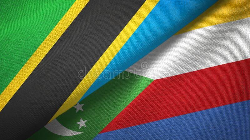 Τανζανία και Κομόρες δύο υφαντικό ύφασμα σημαιών, σύσταση υφάσματος διανυσματική απεικόνιση