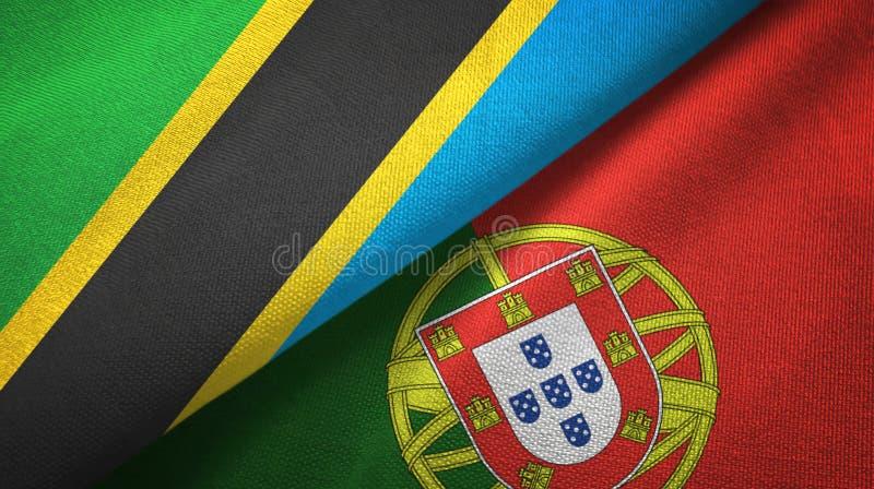 Τανζανία και Πορτογαλία δύο υφαντικό ύφασμα σημαιών, σύσταση υφάσματος ελεύθερη απεικόνιση δικαιώματος