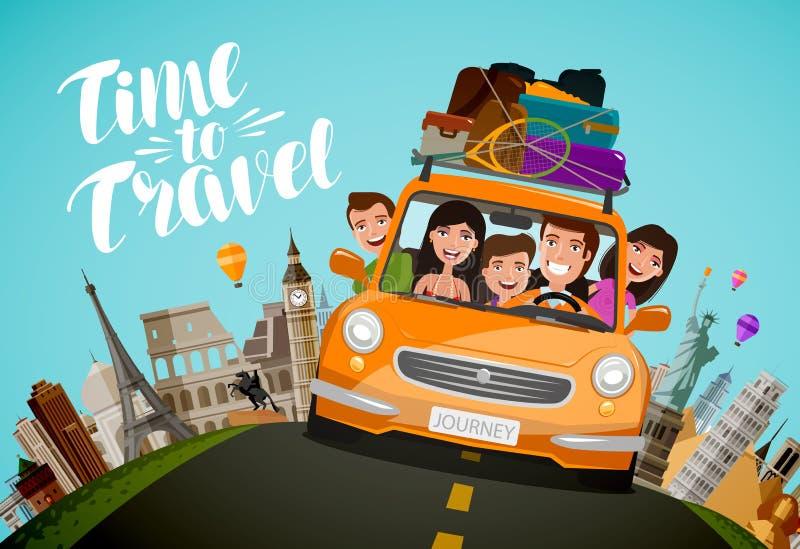 Ταξίδι, έννοια ταξιδιού Ευτυχείς οικογενειακοί γύροι στο αυτοκίνητο στις διακοπές η αλλοδαπή γάτα κινούμενων σχεδίων δραπετεύει τ διανυσματική απεικόνιση