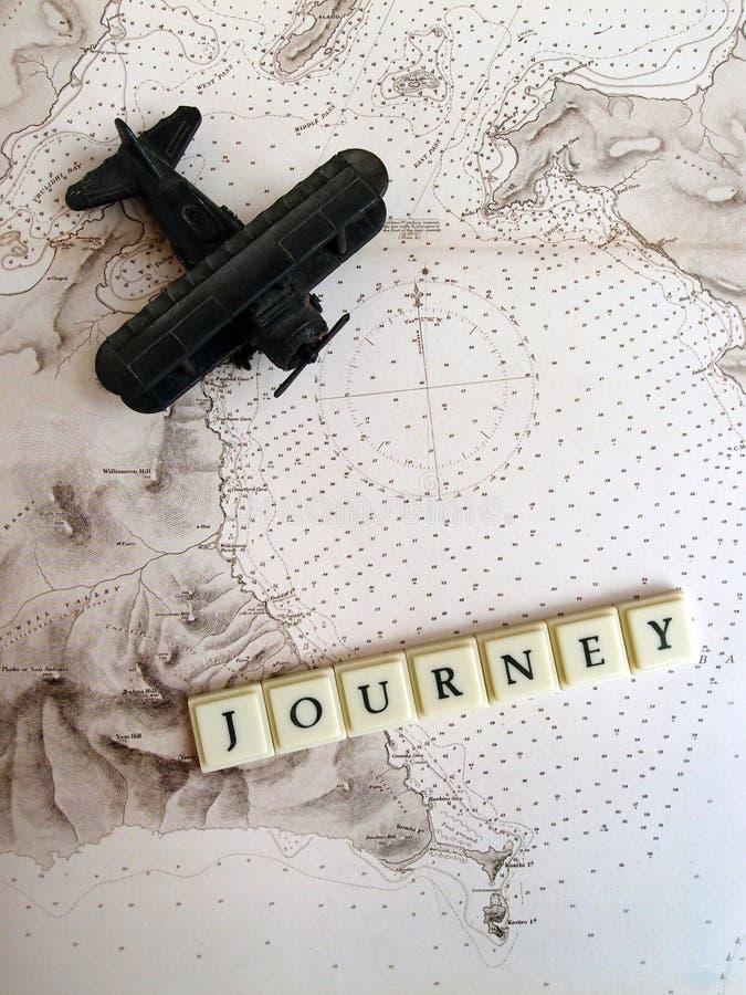 Ταξίδι & έννοια ταξιδιού στον παλαιό χάρτη στοκ εικόνα
