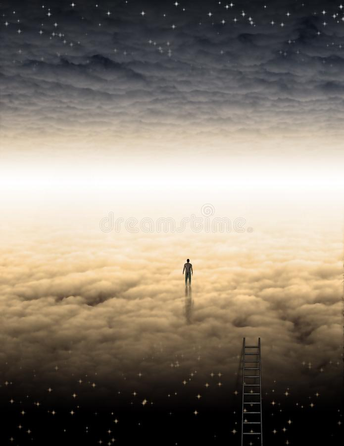 Ταξίδι ατόμων ` s της ψυχής διανυσματική απεικόνιση